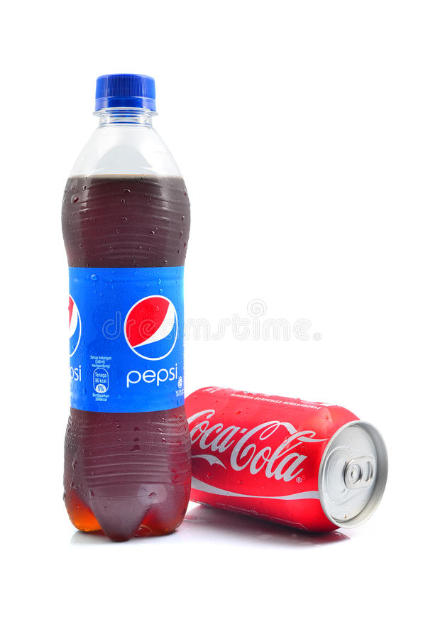 Pepsi and Coca Cola soft drinks. PAHANG, MALAYSIA - JANUARY 18, 2015: Pepsi and Coca Cola soft drinks. Since the 1980's both company has been involved in stock image