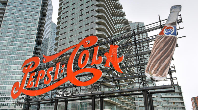 Pepsi Cola Sign, Long Island City. NEW YORK - MARCH 23, 2014: Landmark Pepsi Cola sign in Long Island City on March 23, 2014. This historic 147 foot sign once on stock photo