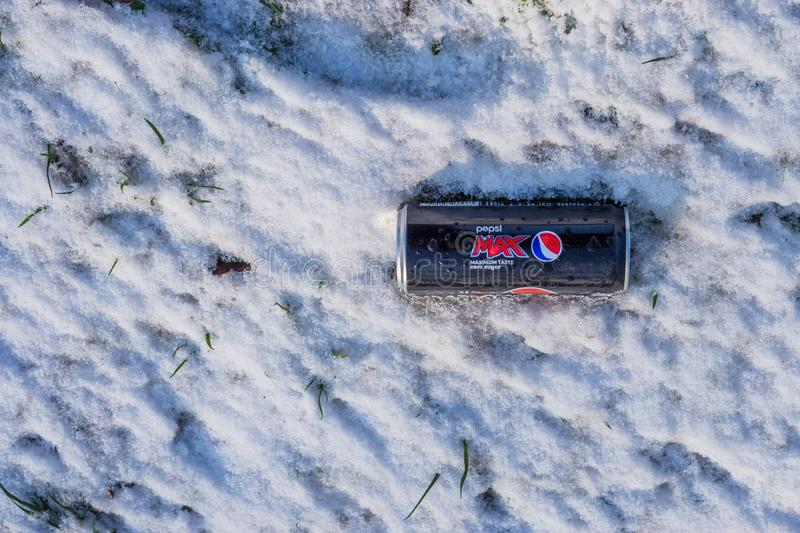 Pepsi max can laying the ice cold snow, refreshing drinks, Fizzy soft drink, Roosendaal, The netherlands, 23 january, 2019. A Pepsi max can laying the ice cold royalty free stock photography