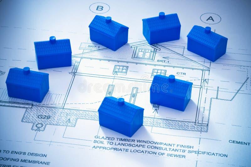Pequeña arquitectura de los planes de los hogares imagen de archivo libre de regalías