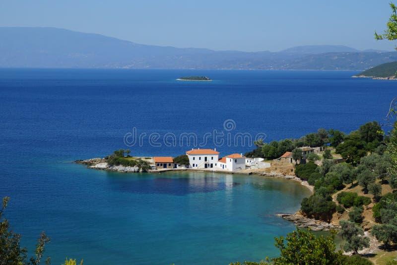 Pequeña bahía, soporte Pelion, Thessaly, Grecia fotos de archivo