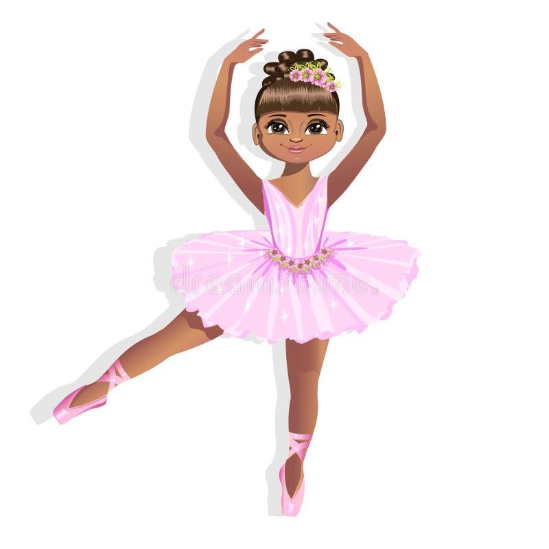 Pequeña bailarina dulce en un vestido brillante stock de ilustración
