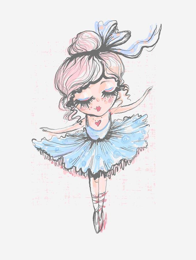 Pequeña bailarina linda Diseño superficial para los niños Gráfico de vector para la ropa de moda de los niños Uso para la impresi ilustración del vector