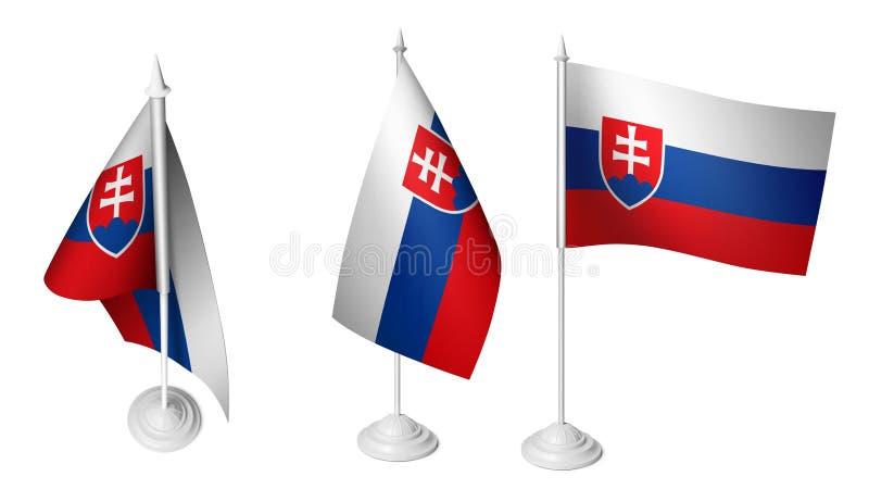 Pequeña bandera aislada de Eslovaquia del escritorio 3 que agita la bandera eslovaca realista del escritorio 3d stock de ilustración