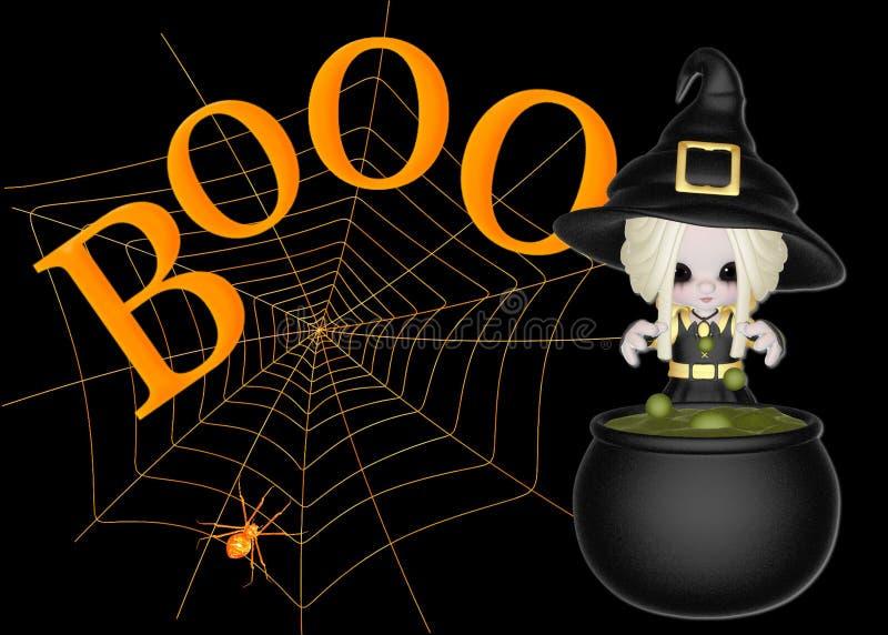Pequeña bruja, abucheo y fondo del Web de araña libre illustration