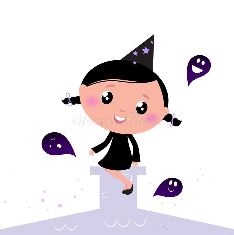 Pequeña bruja linda de Víspera de Todos los Santos con los fantasmas. libre illustration