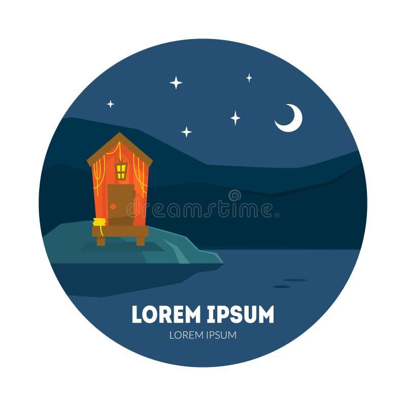 Pequeña cabaña en la noche, la casa y el cielo de Nght con las estrellas y el ejemplo del vector de la luna libre illustration