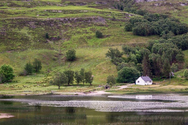 Pequeña cabaña en la orilla del lago oleocalcárea, Escocia fotografía de archivo libre de regalías