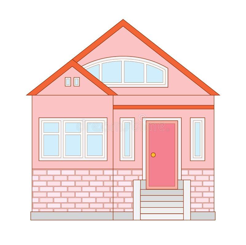 Pequeña cabaña suburbana acogedora ilustración del vector