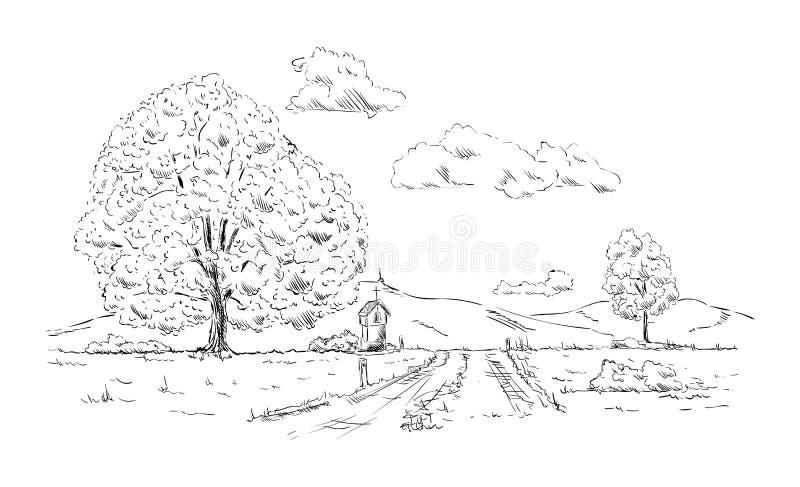 Pequeña capilla stock de ilustración
