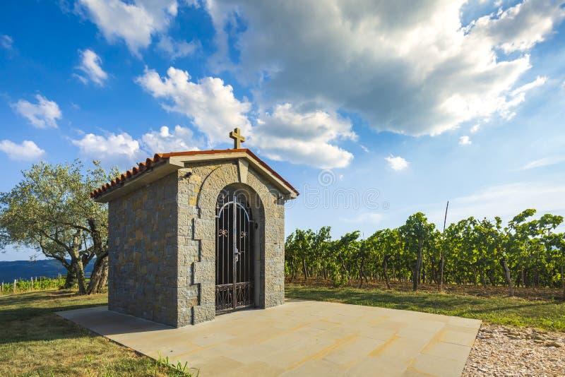 Pequeña capilla histórica tradicional cerca de un viñedo en Croacia en un día de verano foto de archivo libre de regalías
