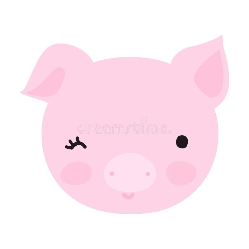 Pequeña cara linda del cerdo con sonrisa stock de ilustración
