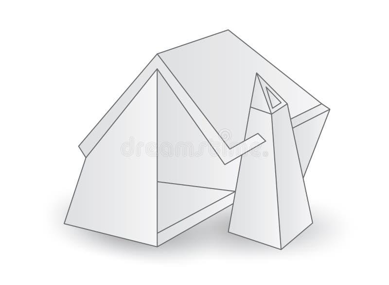 Peque?a casa blanca, ejemplo del vector de la cabina de la casa, historieta stock de ilustración