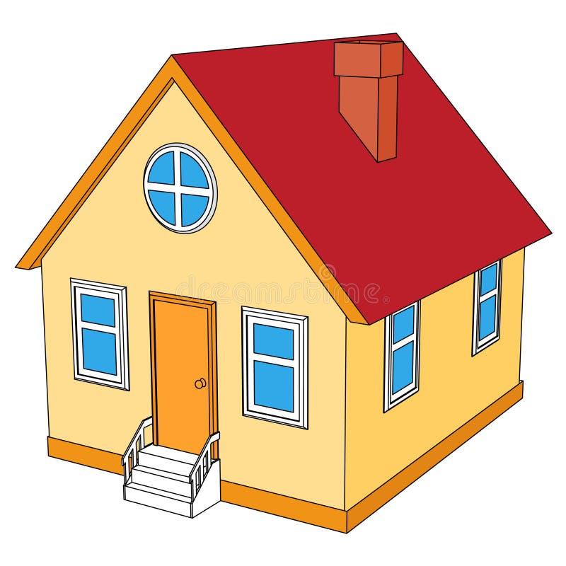 Pequeña casa con el tejado rojo libre illustration