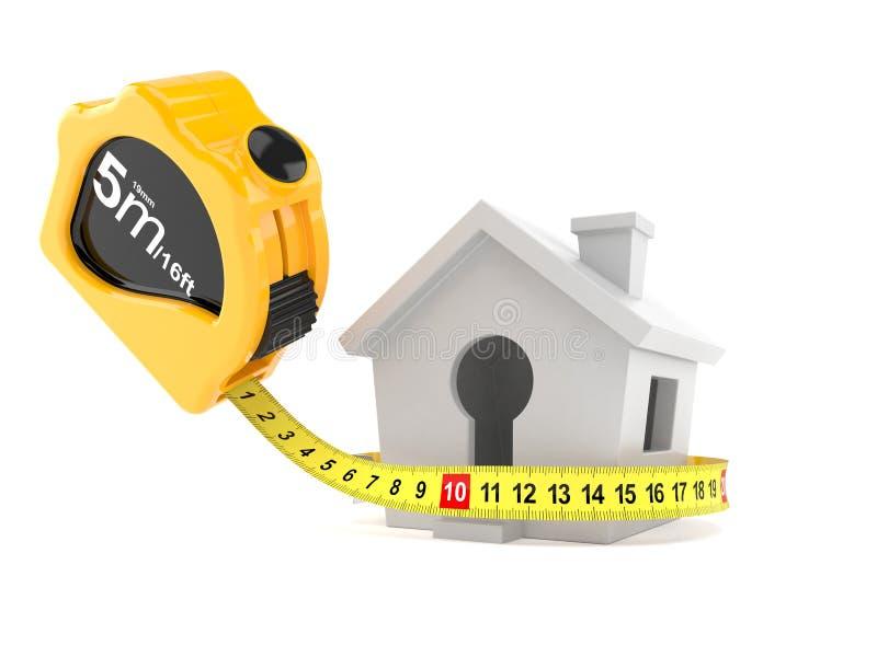 Pequeña casa con la cinta métrica stock de ilustración