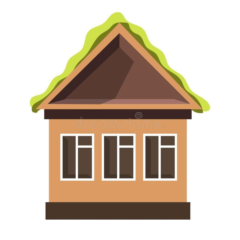 Pequeña casa con las ventanas plásticas y el tejado verde libre illustration