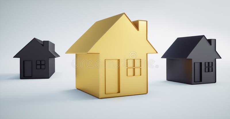 Pequeña casa de oro entre las casas negras ilustración del vector