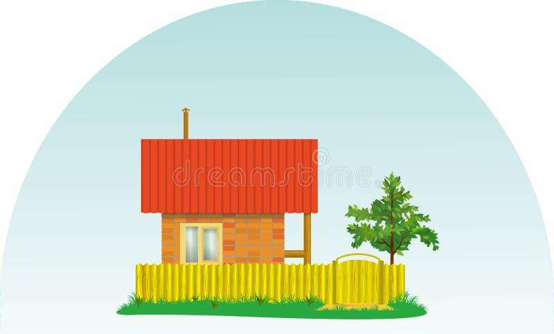 Pequeña casa del pueblo con un tejado rojo y un árbol imagen de archivo