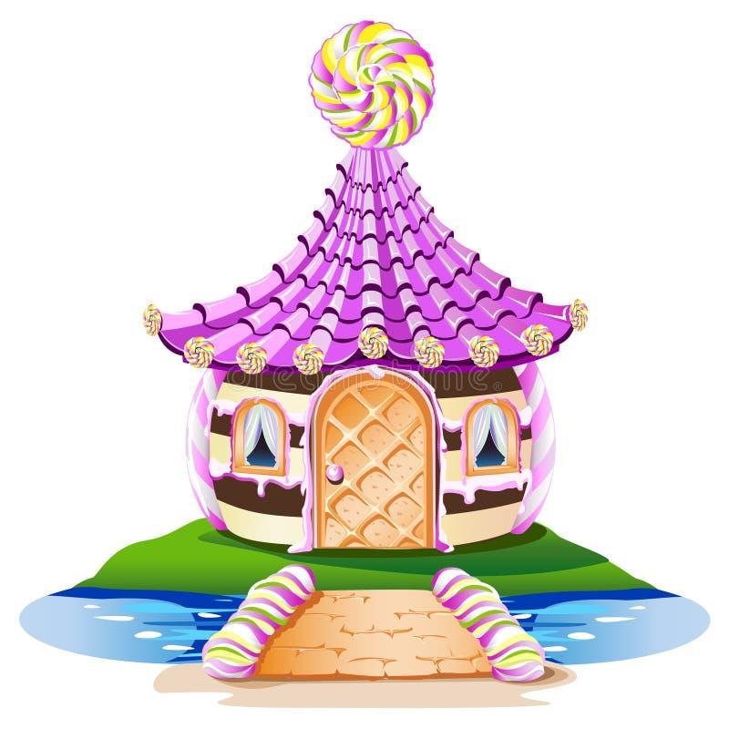 Pequeña casa dulce con una piruleta ilustración del vector