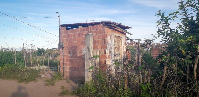 Pequeña casa en el lugar rural, interior de Pernambuco, el Brasil fotos de archivo
