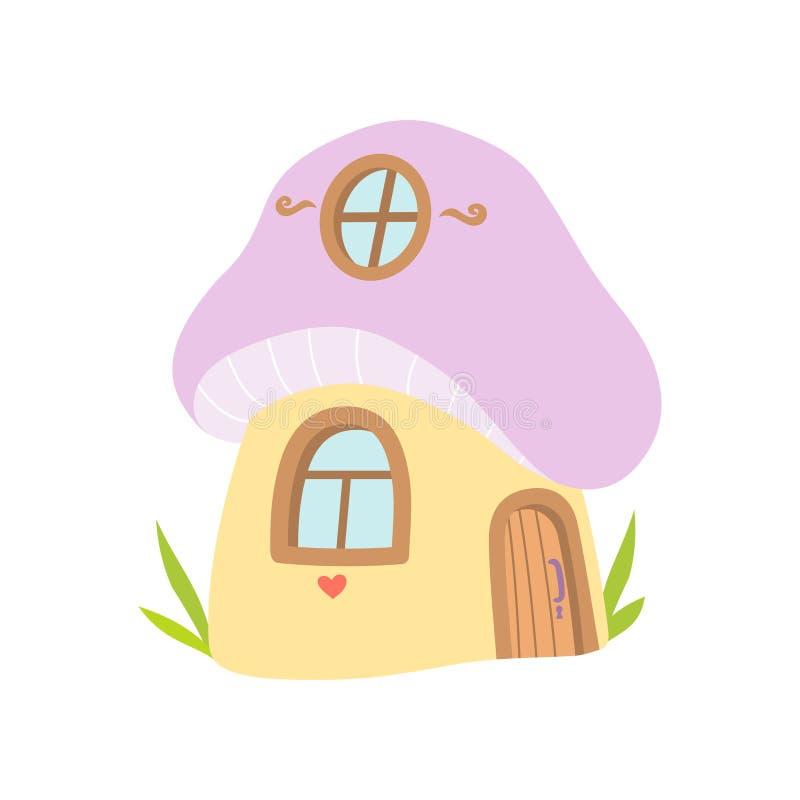 Pequeña casa hecha de la seta, ejemplo del vector de la casa de la fantasía del cuento de hadas stock de ilustración