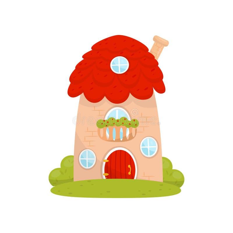 Pequeña casa linda, casa de la fantasía del cuento de hadas para el ejemplo del vector del gnomo, del enano o del duende en un fo ilustración del vector
