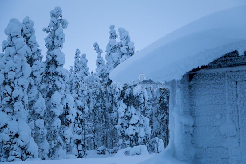 Pequeña casa nevada al borde del bosque del invierno imagen de archivo