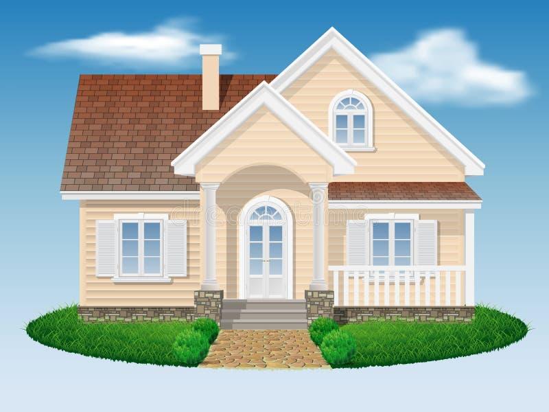 Pequeña casa residencial hermosa ilustración del vector