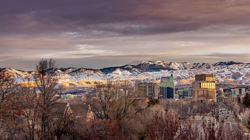 Pequeña ciudad de Boise Idaho en la mañana de invierno fotos de archivo libres de regalías