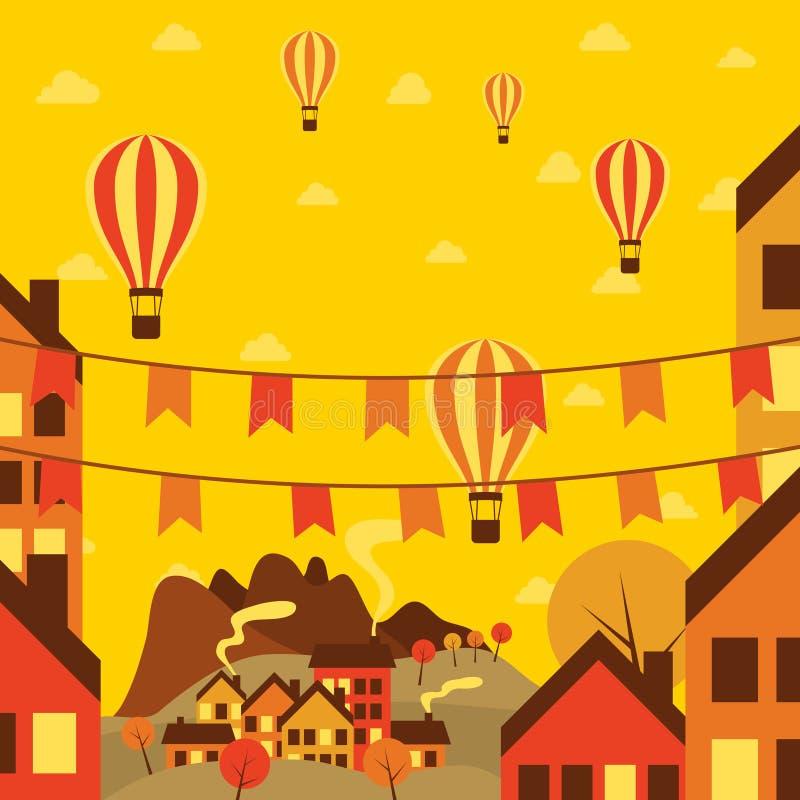 Pequeña ciudad del otoño con los balones de aire libre illustration