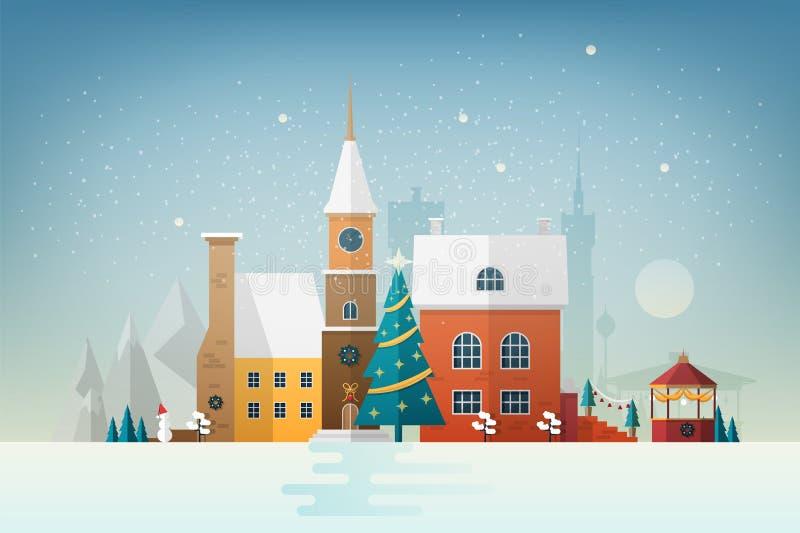 Pequeña ciudad europea en nevadas Paisaje urbano Nevado con las fachadas de los edificios antiguos elegantes adornados por Año Nu ilustración del vector