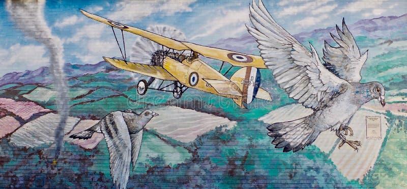 Pequeña ciudad mural Canadá de la pared histórica imagen de archivo