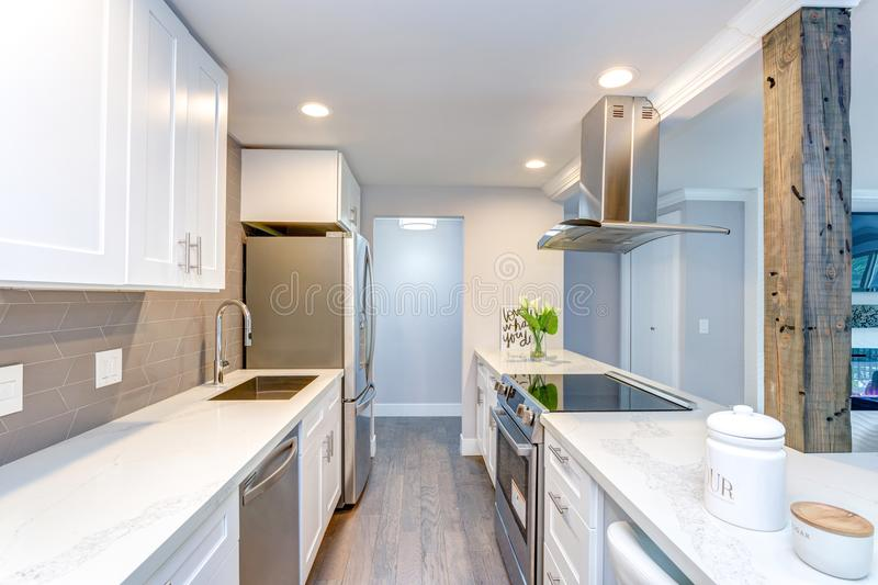 Pequeña cocina blanca en el apartamento moderno imagen de archivo