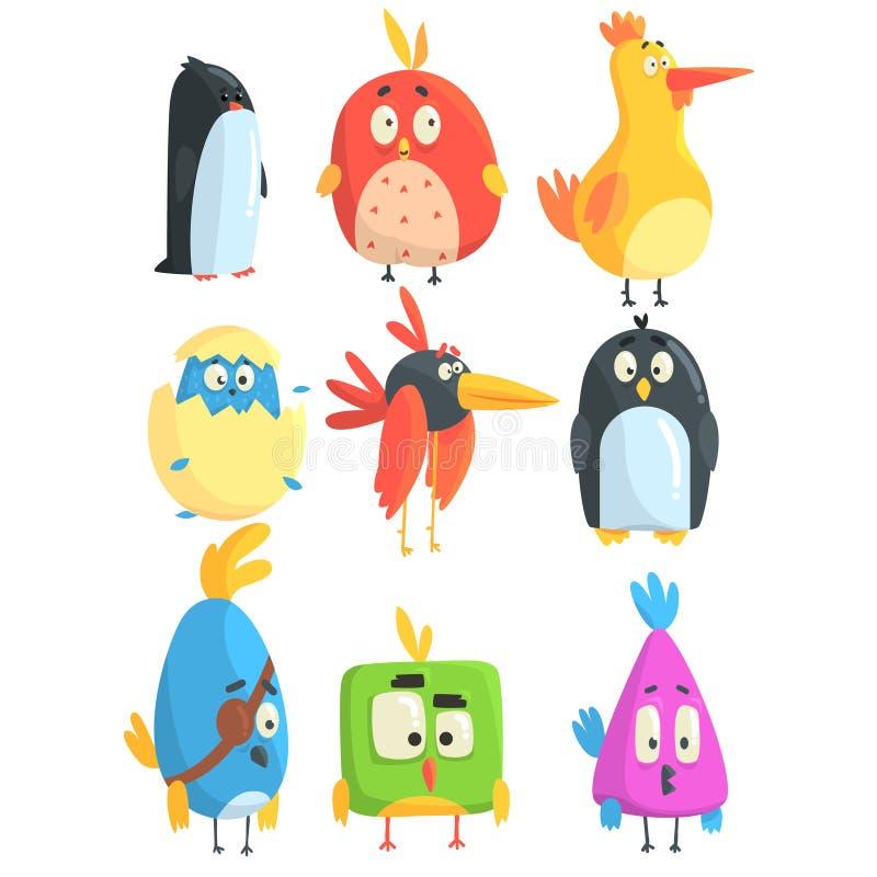 Pequeña colección linda de los polluelos del pájaro de personajes de dibujos animados en formas geométricas, animales lindos esti stock de ilustración