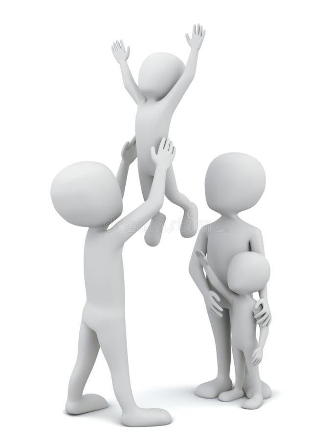 pequeña familia gente-feliz 3d. ilustración del vector