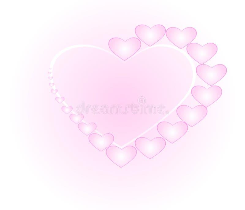 Pequeña forma del corazón, dispuesta junta en una forma grande del corazón ilustración del vector