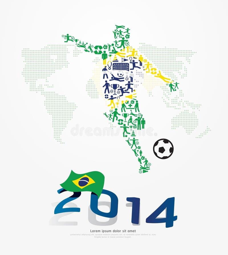 Pequeña forma del jugador de fútbol de los iconos de los elementos en la bandera del Brasil 2014. stock de ilustración