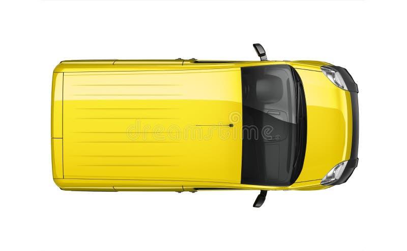 Pequeña furgoneta del amarillo de la entrega - visión superior libre illustration