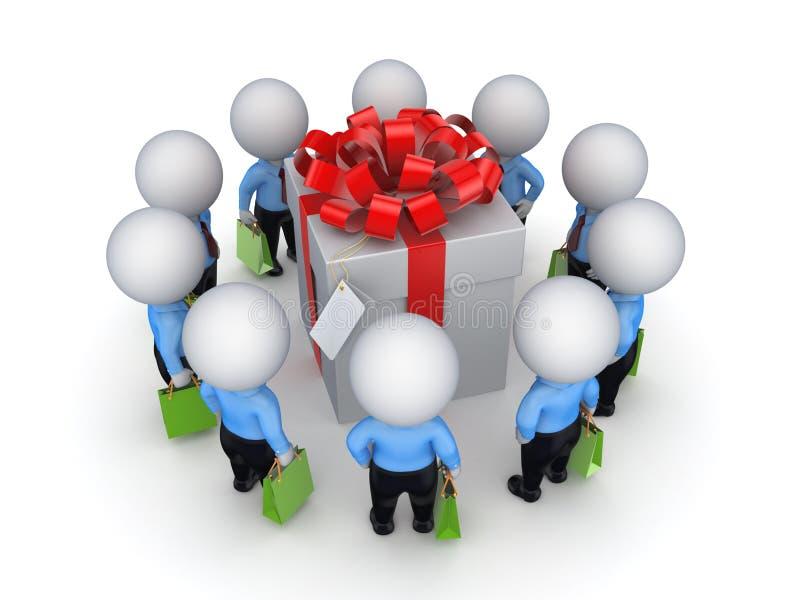 pequeña gente 3d alrededor del rectángulo de regalo. ilustración del vector