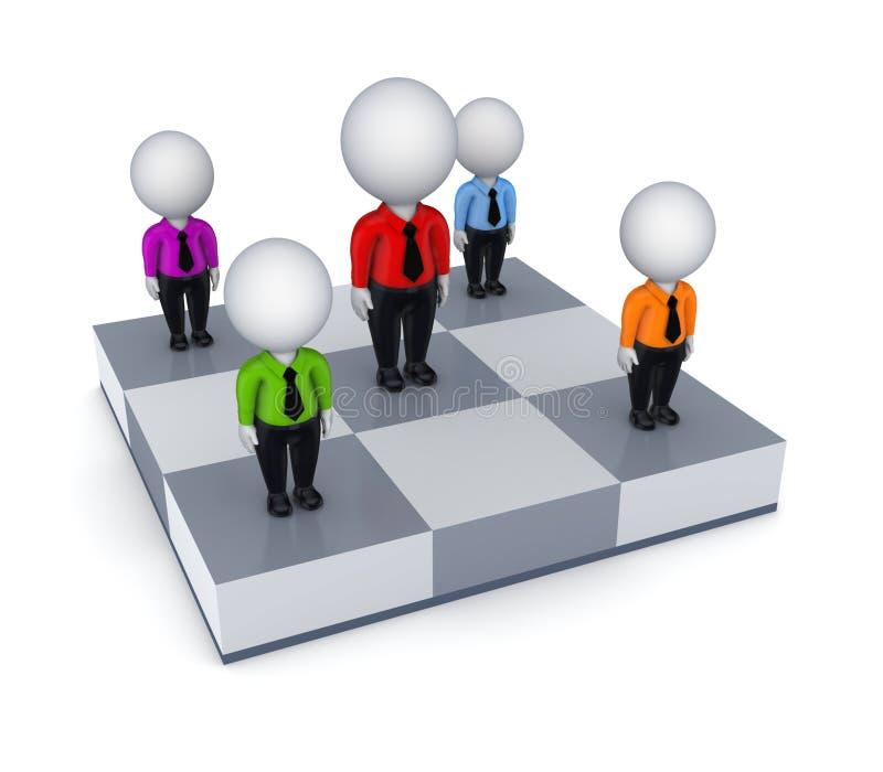 pequeña gente 3d en un tablero de ajedrez. libre illustration