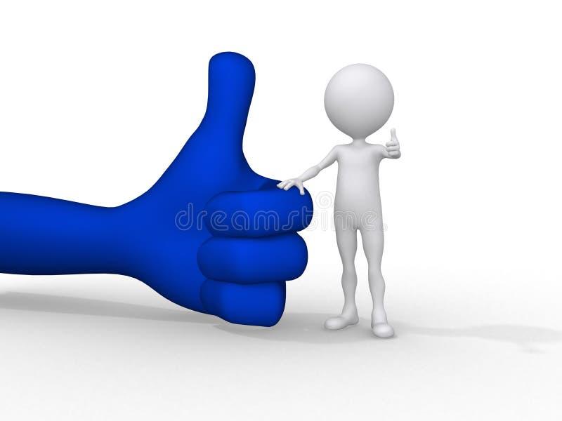 pequeña gente 3d que lleva a cabo encendido un símbolo positivo libre illustration