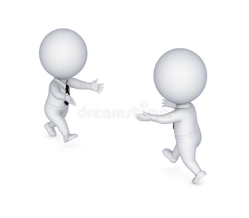 pequeña gente 3d que se ejecuta el uno al otro. ilustración del vector