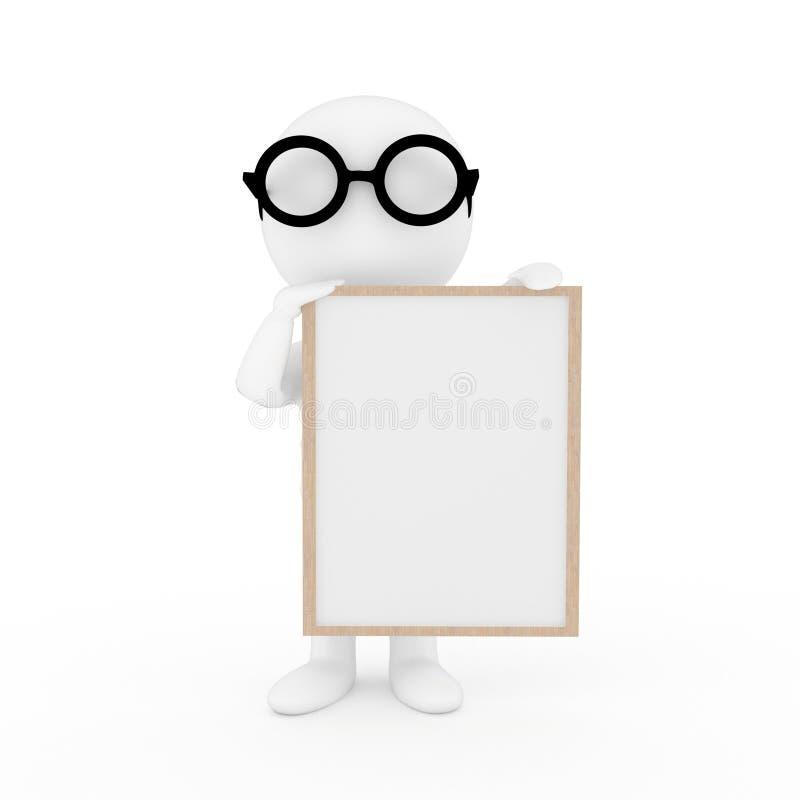 Pequeña gente con el marco de la foto en fondo blanco aislado en la representación 3D stock de ilustración
