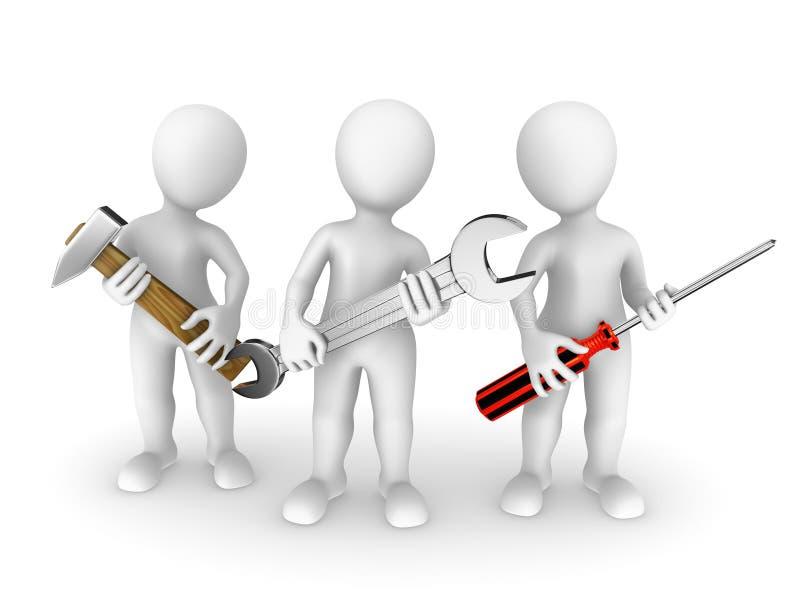 pequeña gente 3d con las herramientas libre illustration