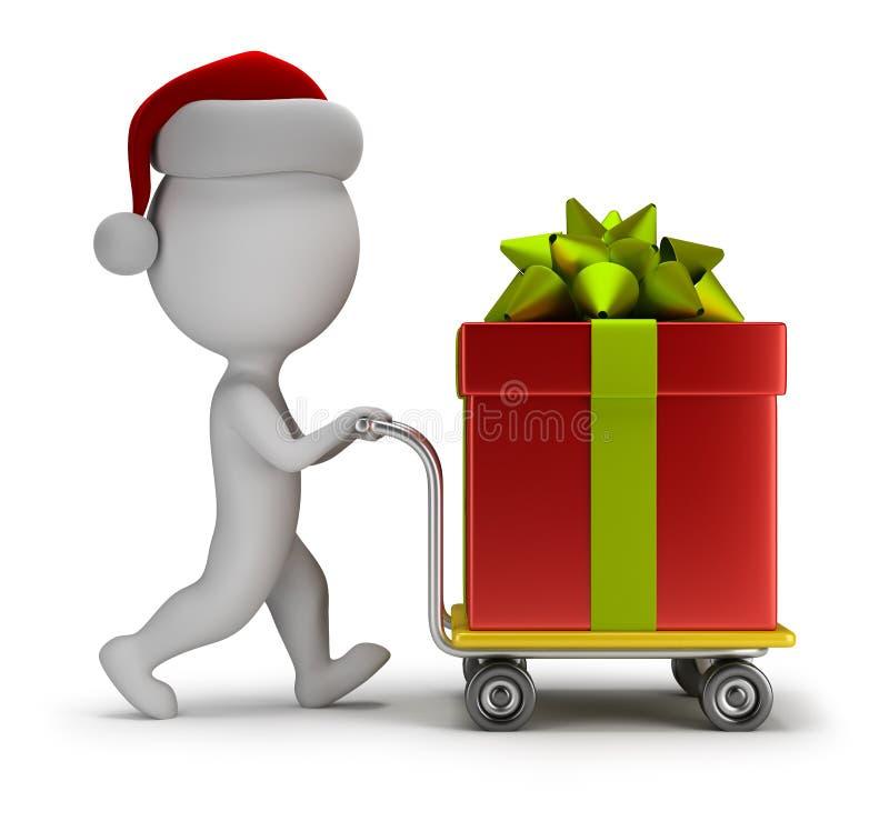 pequeña gente 3d - Papá Noel lleva un regalo stock de ilustración