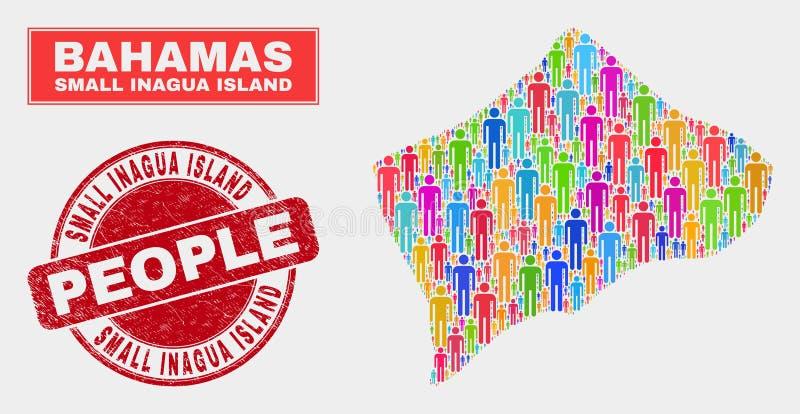 Pequeña gente de la población del mapa de la isla de Inagua y filigrana sucia ilustración del vector
