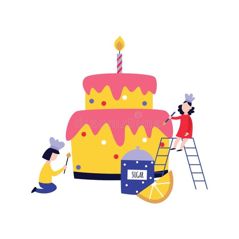 Pequeña gente - niños - que cocina y que adorna estilo plano de la historieta de la torta enorme ilustración del vector