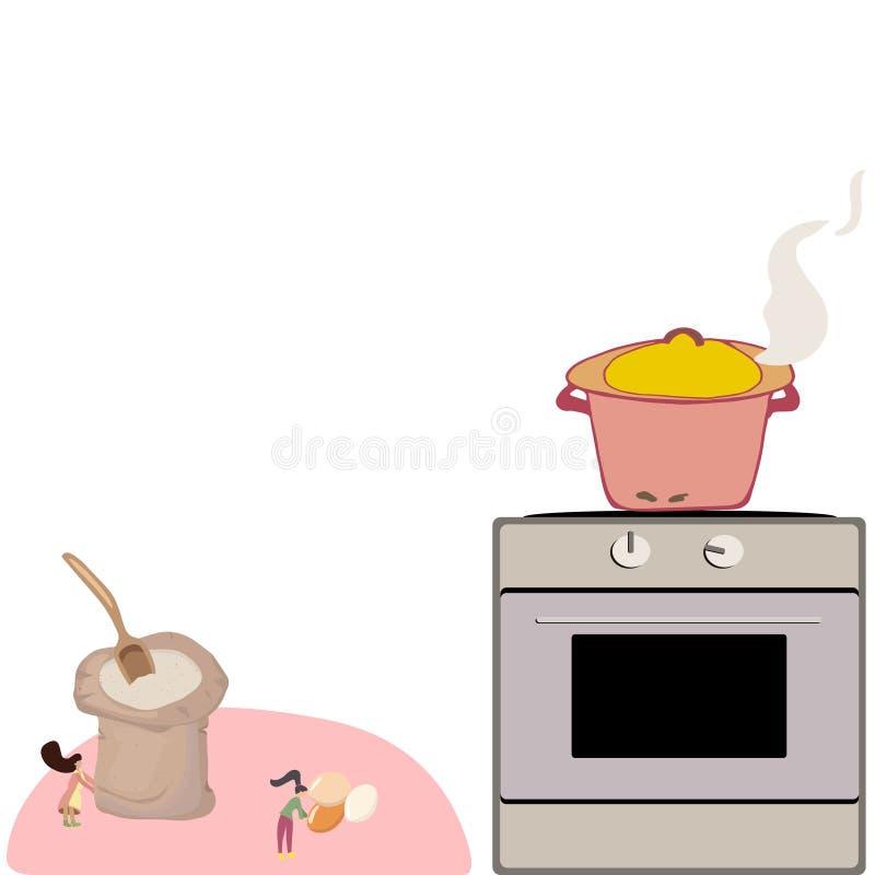 Pequeña gente que cocina, ejemplo lindo libre illustration