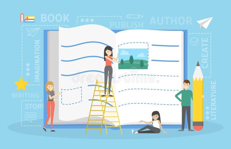 Pequeña gente que escribe el libro con concepto del lápiz stock de ilustración