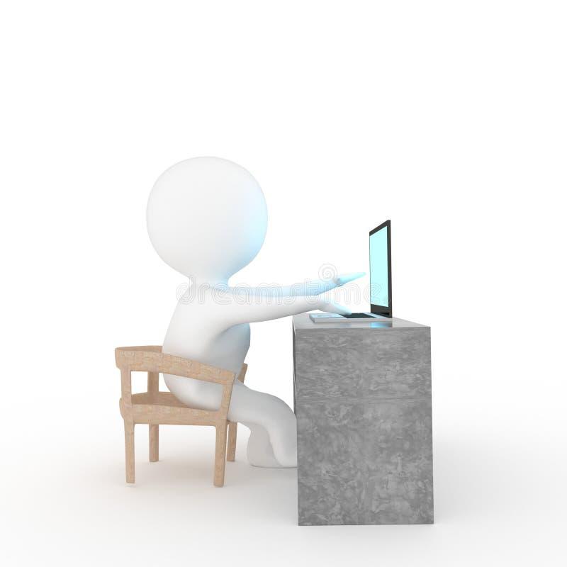 Pequeña gente que juega el ordenador portátil en fondo blanco aislado en la representación 3D stock de ilustración